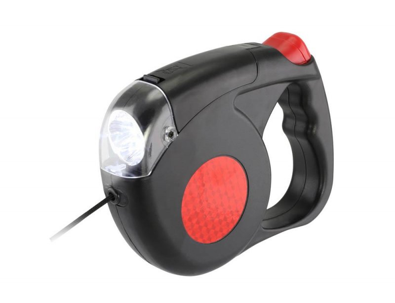 Image 1 of Retractable Dog Leash w/ LED Light Reaches 15 Feet for Dogs up to 50 Pounds