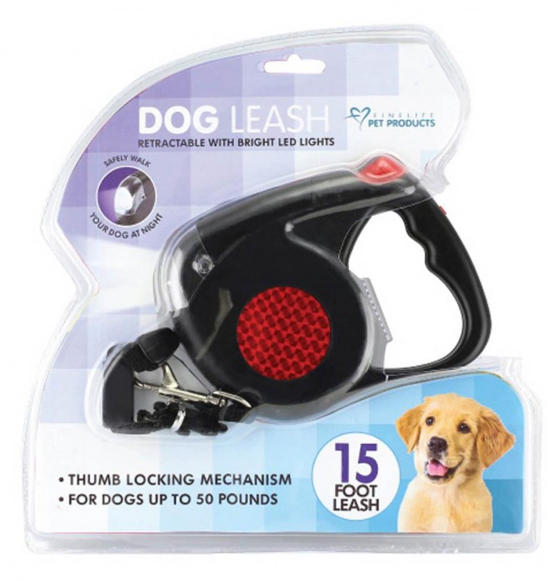 Image 2 of Retractable Dog Leash w/ LED Light Reaches 15 Feet for Dogs up to 50 Pounds