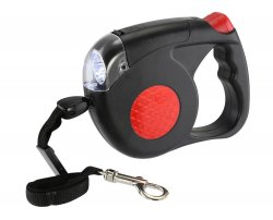 Retractable Dog Leash w/ LED Light Reaches 15 Feet for Dogs up to 50 Pounds