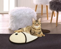 Fish Shaped Cat Scratch Pad & Fleece Rest Pad