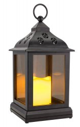 Black Cottage Chic LED Candle Lantern w/ Timer Indoors or Outdoors