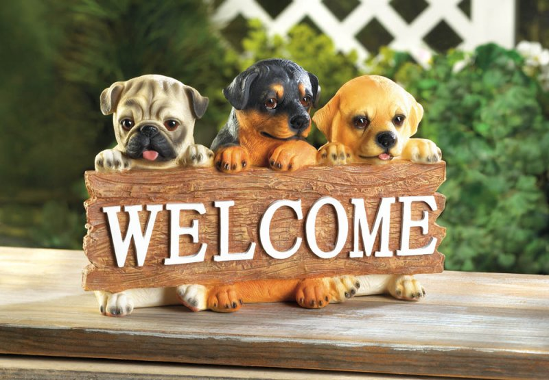 Image 0 of Cute Puppies Dog  Holding Welcome Plaque Sign Garden Figurine