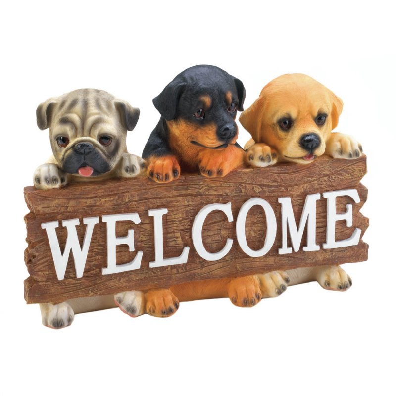 Image 1 of Cute Puppies Dog  Holding Welcome Plaque Sign Garden Figurine