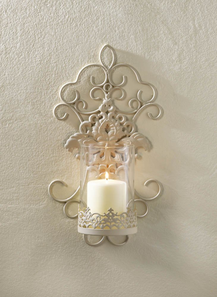 Image 0 of Ivory Iron Pretty Scrolls and Lace Design Flourishes Pillar Candle Wall Sconce
