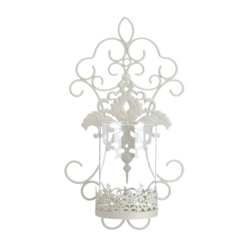 Image 1 of Ivory Iron Pretty Scrolls and Lace Design Flourishes Pillar Candle Wall Sconce