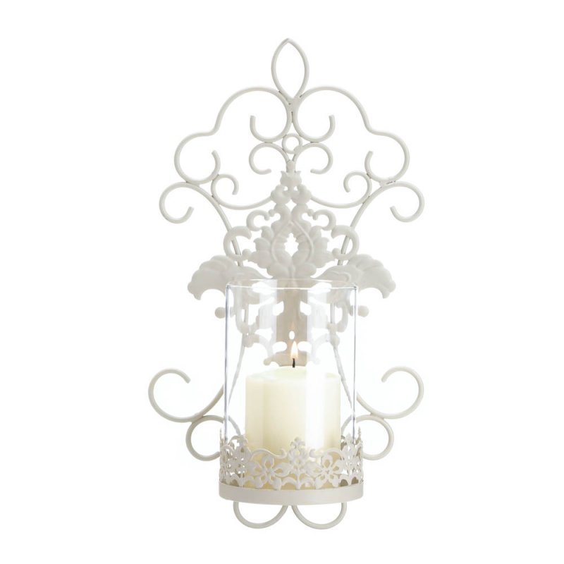 Image 2 of Ivory Iron Pretty Scrolls and Lace Design Flourishes Pillar Candle Wall Sconce