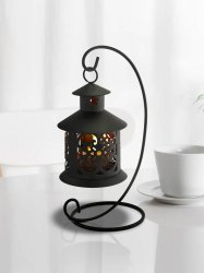 Black Contemporary LED Tealight Lantern Hanging from Curlicue Stand