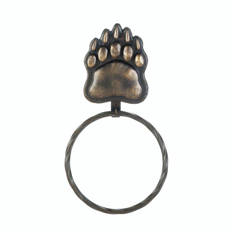 Image 1 of Black Bear Paw Iron Wall Towel Holder Ring