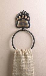 Black Bear Paw Iron Wall Towel Holder Ring