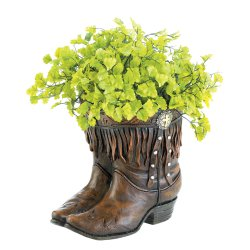 Fringed Cowboy Boot Planter with Western Medallion