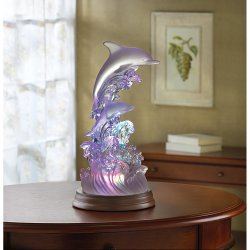 Dolphins on Waves Figurine Rainbow Color Changing Light