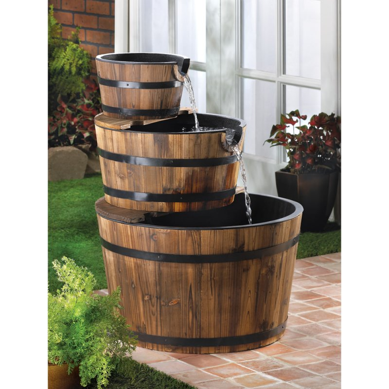 Image 0 of Three Tier Cascading Spout to Spout Apple Barrel Garden Water Fountain