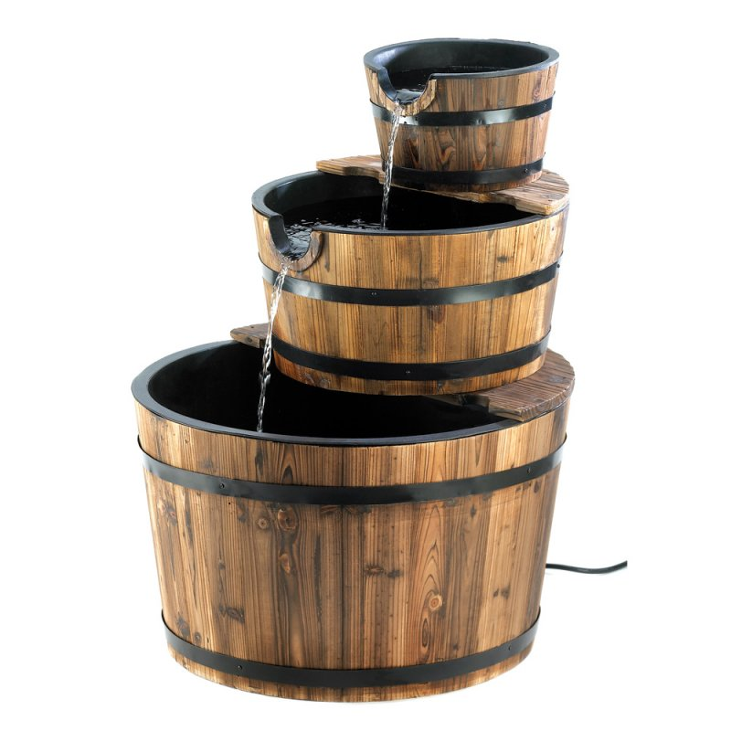 Image 1 of Three Tier Cascading Spout to Spout Apple Barrel Garden Water Fountain