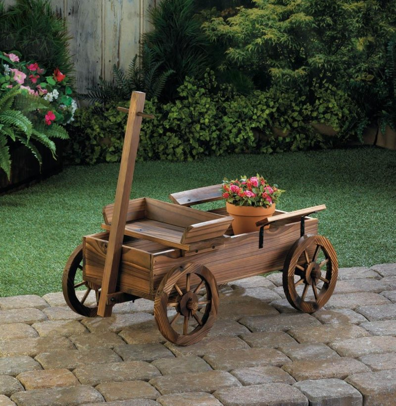 Image 0 of Rustic Old World Wooden Coach Wagon Patio, Garden Planter, Plant Stand