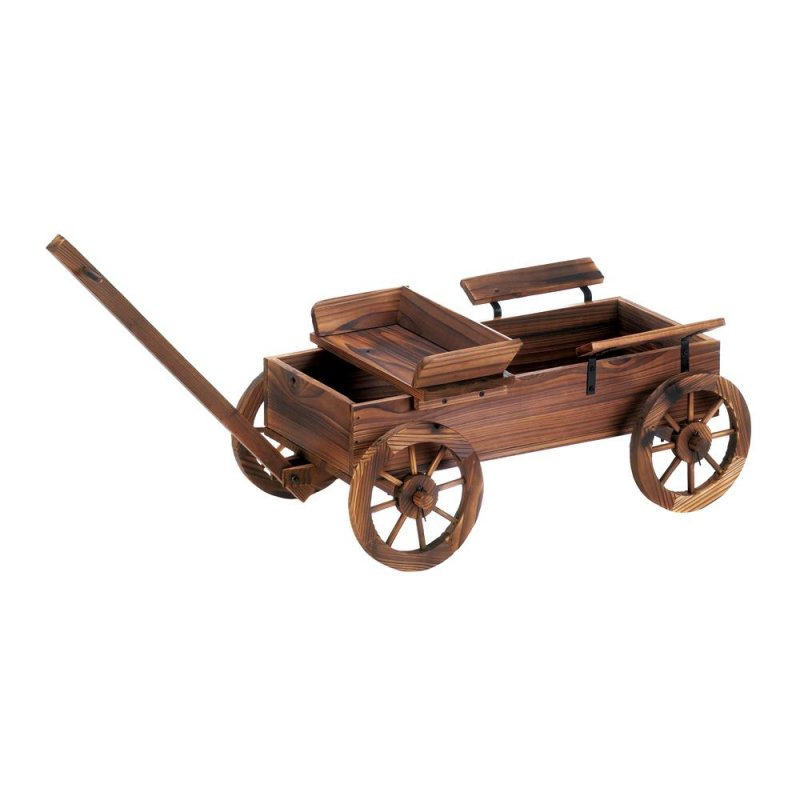 Image 1 of Rustic Old World Wooden Coach Wagon Patio, Garden Planter, Plant Stand