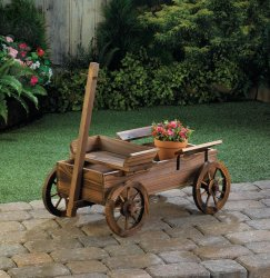 Rustic Old World Wooden Coach Wagon Patio, Garden Planter, Plant Stand