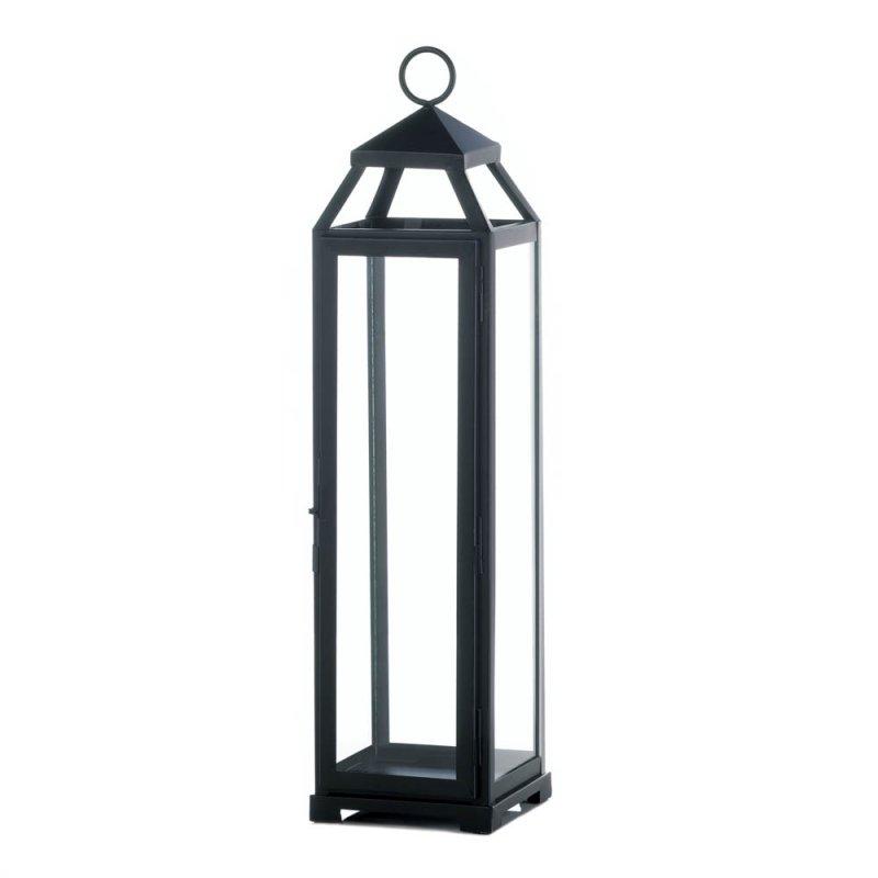 Image 0 of Black Contemporary Lean & Sleek Extra Large Pillar Candle Lantern 20