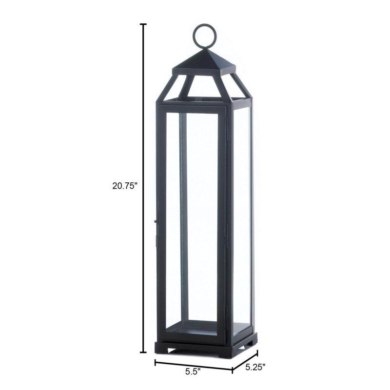 Image 1 of Black Contemporary Lean & Sleek Extra Large Pillar Candle Lantern 20