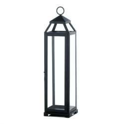 Black Contemporary Lean & Sleek Extra Large Pillar Candle Lantern 20 High