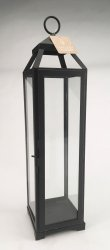 Black Contemporary Lean & Sleek Extra Large Pillar Candle Lantern 20 High