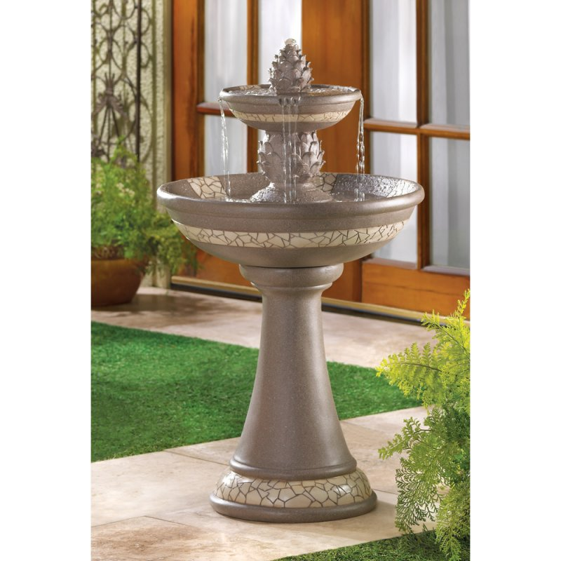 Image 0 of Pineapple Courtyard Garden Fountain with Mosaic Look Trim