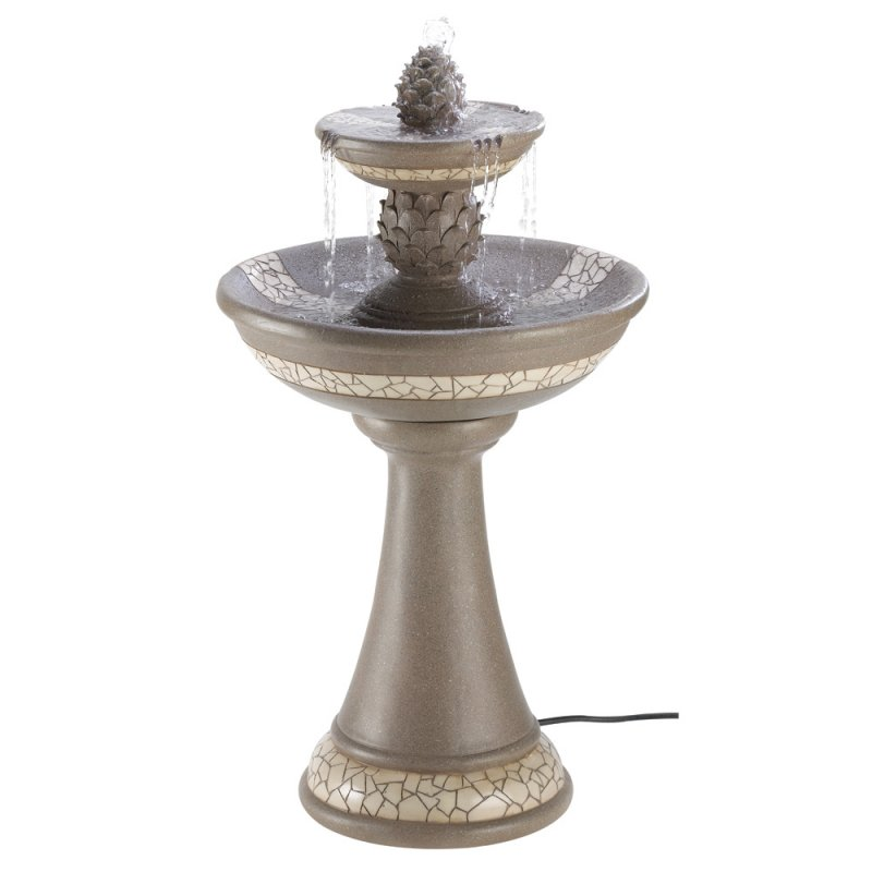 Image 1 of Pineapple Courtyard Garden Fountain with Mosaic Look Trim