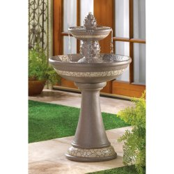 Pineapple Courtyard Garden Fountain with Mosaic Look Trim
