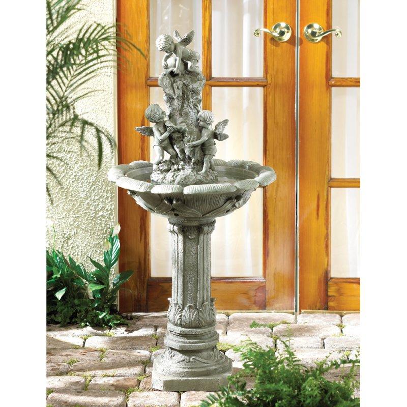 Image 0 of Playful Cherubs Garden Water Fountain Pump Included Garden Decor
