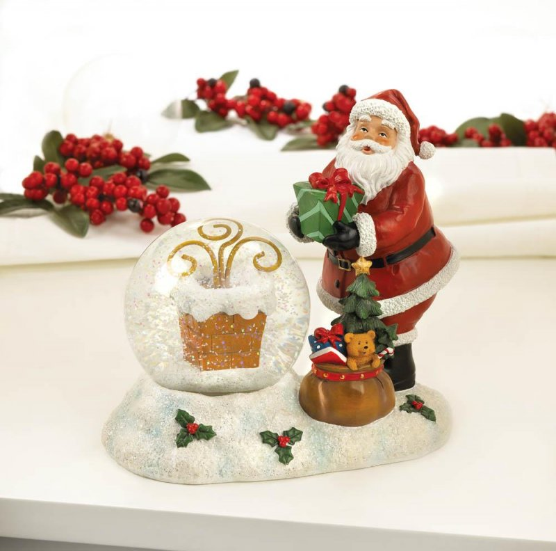 Image 0 of Santa with LED Color Changing Lighted Chimney Snow Globe