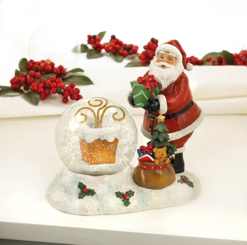 Image 1 of Santa with LED Color Changing Lighted Chimney Snow Globe