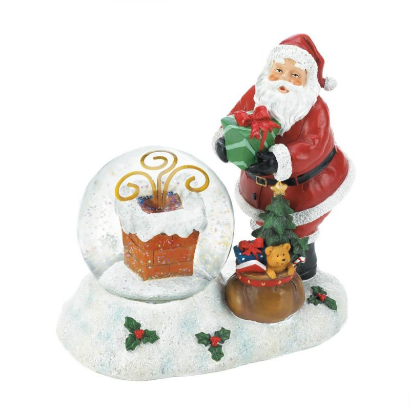 Image 2 of Santa with LED Color Changing Lighted Chimney Snow Globe