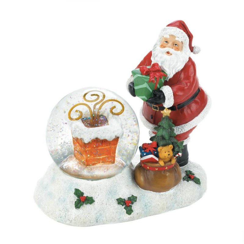 Image 3 of Santa with LED Color Changing Lighted Chimney Snow Globe