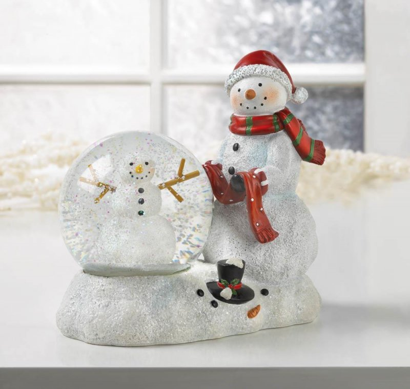 Image 0 of Snowman Figurine with Lighted Snow Globe Holiday Decor