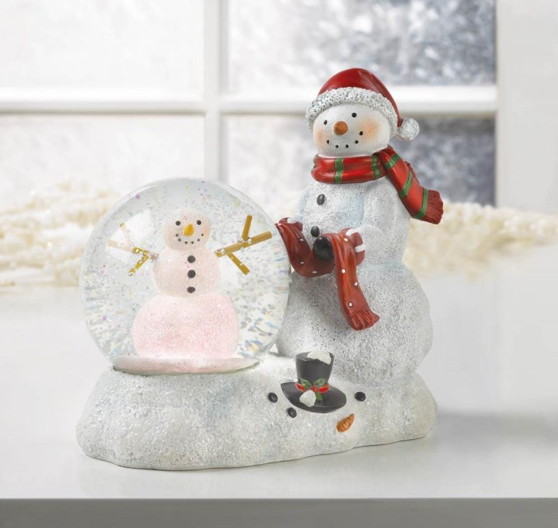Image 1 of Snowman Figurine with Lighted Snow Globe Holiday Decor