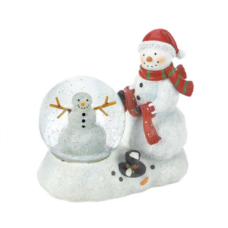 Image 2 of Snowman Figurine with Lighted Snow Globe Holiday Decor