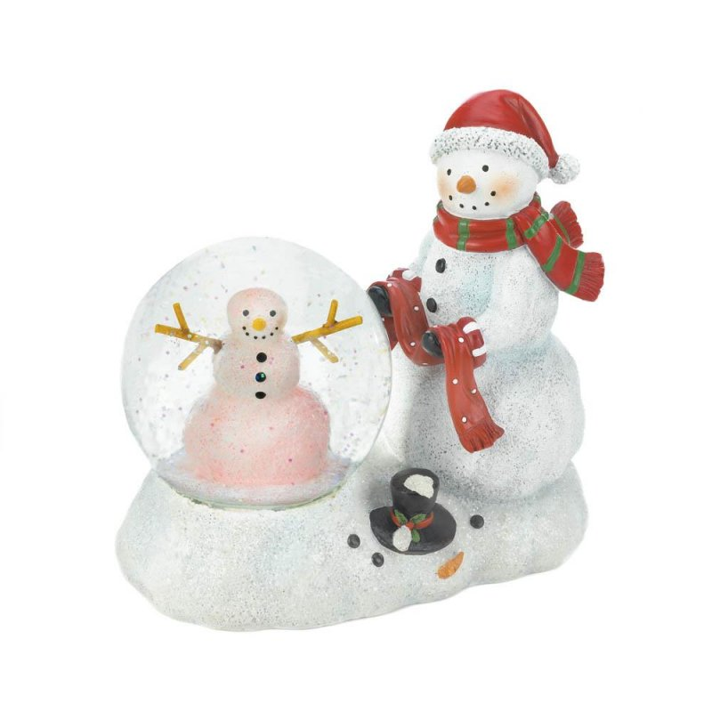 Image 3 of Snowman Figurine with Lighted Snow Globe Holiday Decor