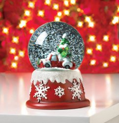 Old Truck Carrying Christmas Tree Snow Globe