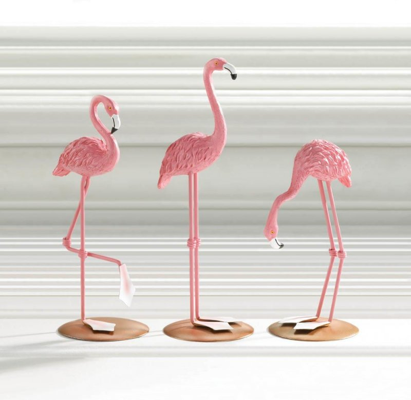 Image 0 of Set of 3 Pink Flamingo Tabletop Figurines