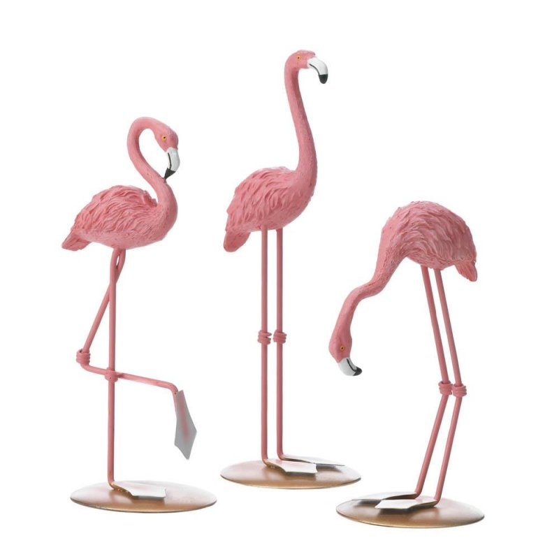 Image 1 of Set of 3 Pink Flamingo Tabletop Figurines