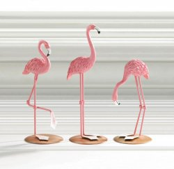 Set of 3 Pink Flamingo Tabletop Figurines