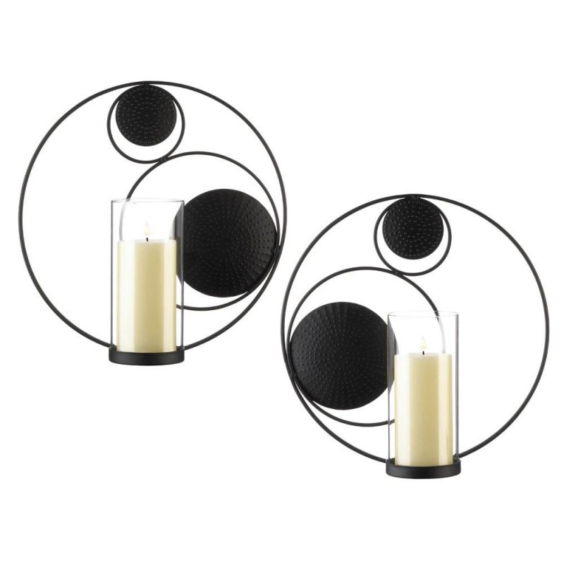 Image 0 of Set of 2 Contemporary Black Circular Candle Wall Sconces w/ Hurricane Holders