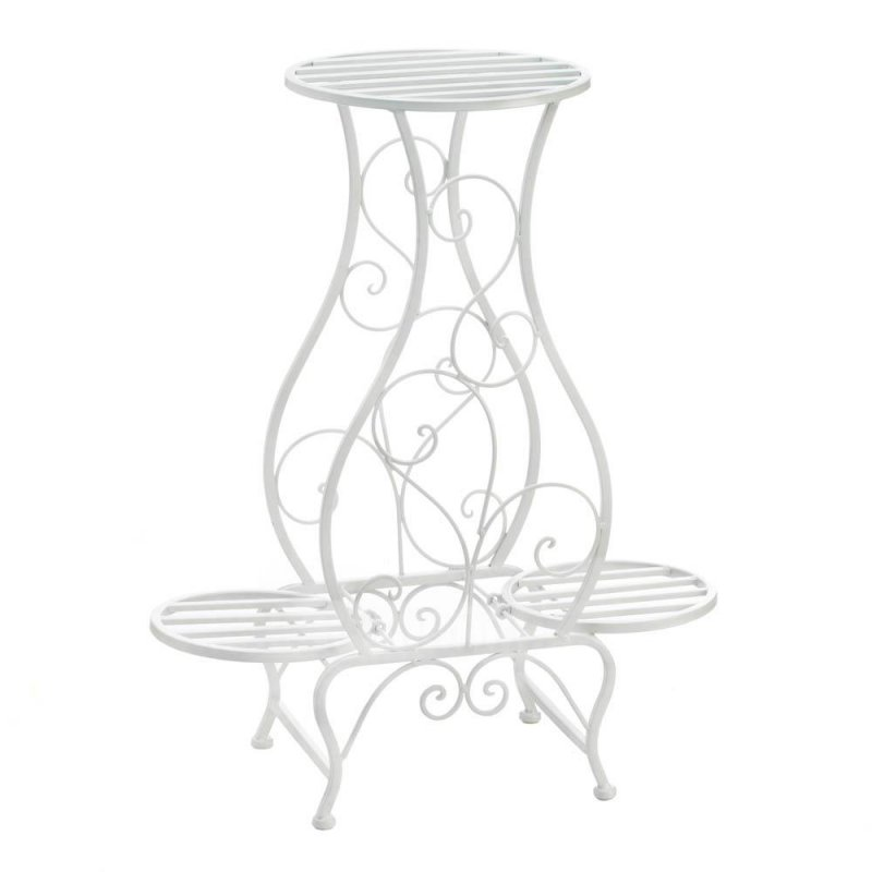 Image 0 of White Scrollwork Hourglass Shaped Plant Stand w/ 3 Platforms for Potted Plants