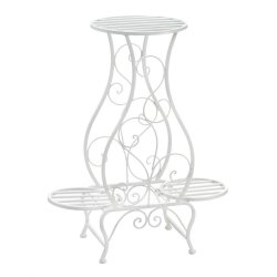 White Scrollwork Hourglass Shaped Plant Stand w/ 3 Platforms for Potted Plants