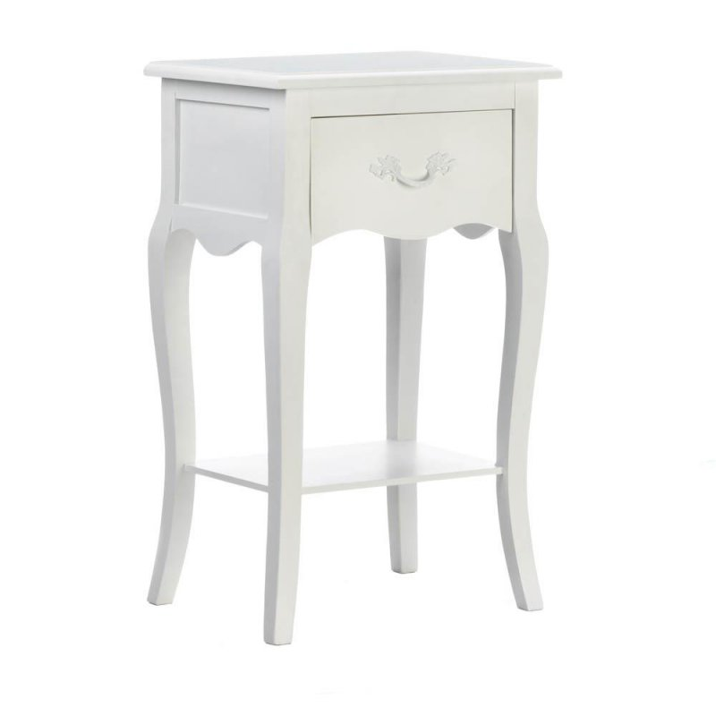Image 0 of Country Loft White Accent, Side, End Table or Night Stand w/ Drawer & Shelf
