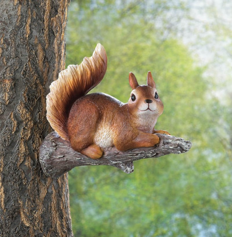 Image 0 of Playful Lounging Squirrel Garden Figurine Mounts to Tree