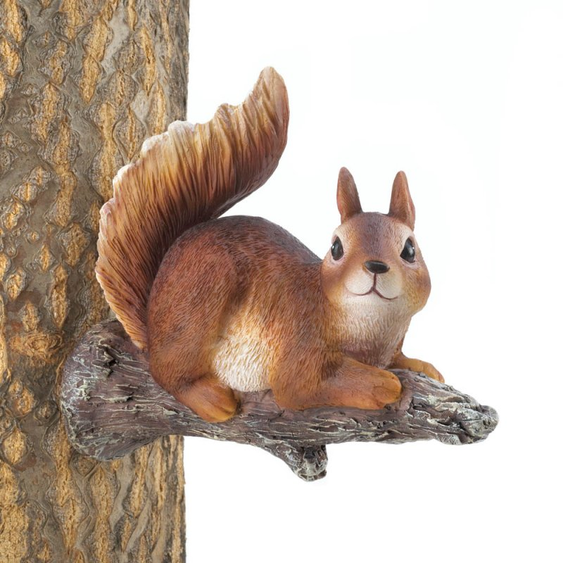 Image 1 of Playful Lounging Squirrel Garden Figurine Mounts to Tree