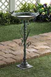 Speckled Green Cast Iron Birdbath Flourishes on Base Garden Decor