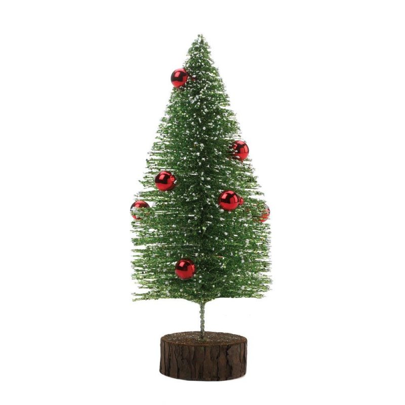 Image 0 of Short Tabletop Glitter Faux Pine Tree w/ Red Ornaments Figurine Christmas Decor