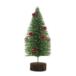 Short Tabletop Glitter Faux Pine Tree w/ Red Ornaments Figurine Christmas Decor