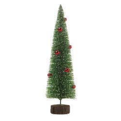 Tall Tabletop Glitter Faux Pine Tree w/ Red Ornaments Figurine Christmas Decor
